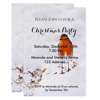 La fiesta de Navidad invita al petirrojo lindo de Invitación 8,9 X 12,7 Cm