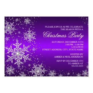 La fiesta de Navidad púrpura del copo de nieve de Invitacion Personalizada