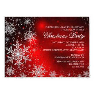 La fiesta de Navidad roja del copo de nieve de la Comunicado Personalizado