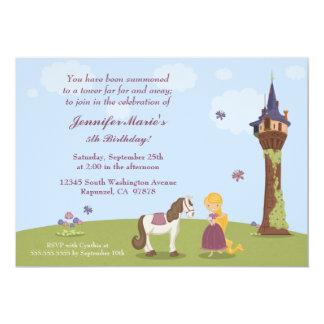 La fiesta del cumpleaños del rapunzel del chica invitación 12,7 x 17,8 cm
