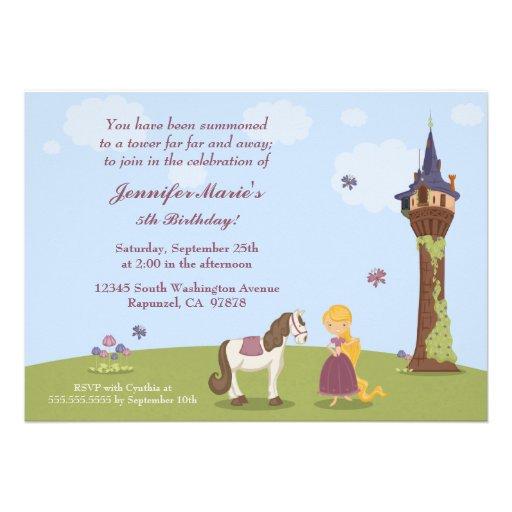 La fiesta del cumpleaños del rapunzel del chica li invitación