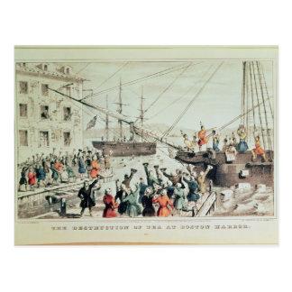 La fiesta del té de Boston, 1846 Postal