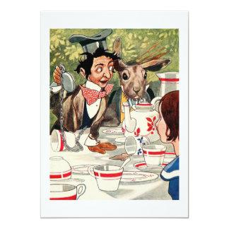 La fiesta del té del sombrerero enojado invitación 12,7 x 17,8 cm