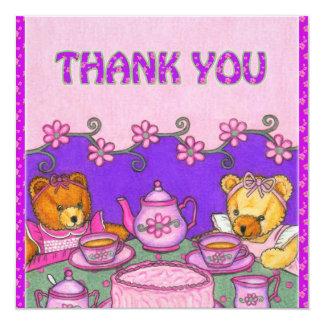 La fiesta del té le agradece los osos de invitación 13,3 cm x 13,3cm