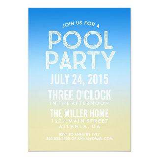 La fiesta en la piscina azul del verano de la invitación 12,7 x 17,8 cm