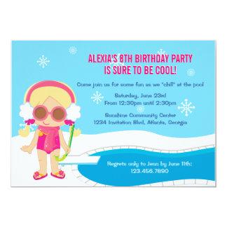 La fiesta en la piscina del invierno invita invitaciones personales