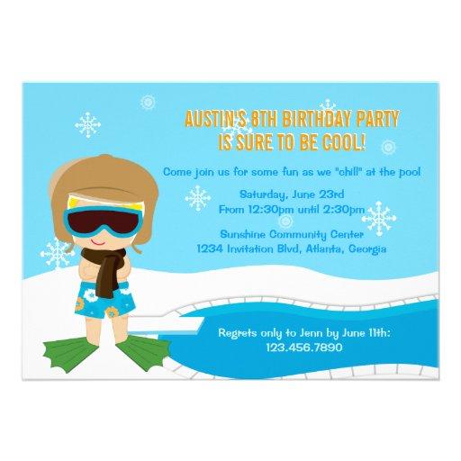 La fiesta en la piscina del invierno invita comunicados personales