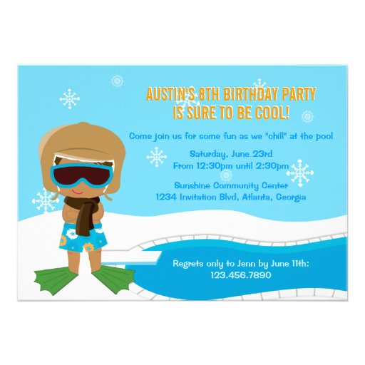 La fiesta en la piscina del invierno invita comunicado personalizado