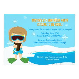 La fiesta en la piscina del invierno invita invitación 12,7 x 17,8 cm