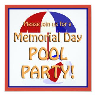 La fiesta en la piscina del Memorial Day invita Invitación 13,3 Cm X 13,3cm