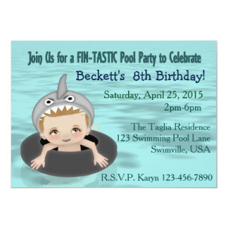 La fiesta en la piscina del muchacho invitación 12,7 x 17,8 cm