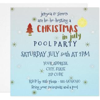 La fiesta en la piscina del navidad en julio invitación 13,3 cm x 13,3cm