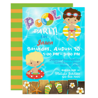 La fiesta en la piscina embroma cumpleaños de la invitación 12,7 x 17,8 cm