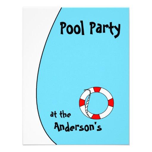 La fiesta en la piscina invita invitacion personalizada