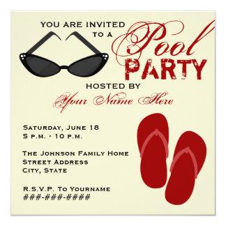 La fiesta en la piscina retra invita a invitación 13,3 cm x 13,3cm