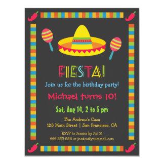 La fiesta mexicana colorida embroma a la fiesta de invitación 10,8 x 13,9 cm