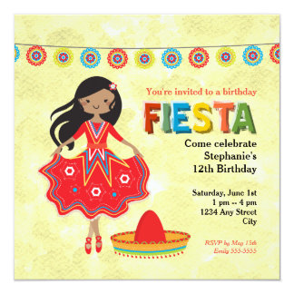 La fiesta mexicana colorida embroma a la fiesta de invitación 13,3 cm x 13,3cm