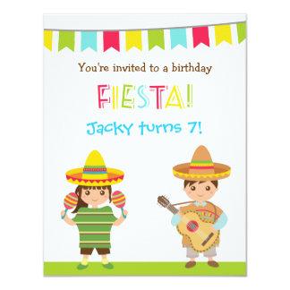 La fiesta mexicana colorida embroma invitaciones invitación 10,8 x 13,9 cm