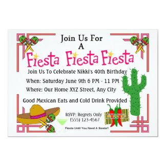 La fiesta mexicana invita a la fiesta de invitación 12,7 x 17,8 cm