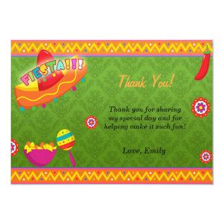 La fiesta mexicana le agradece cardar verde invitación 12,7 x 17,8 cm