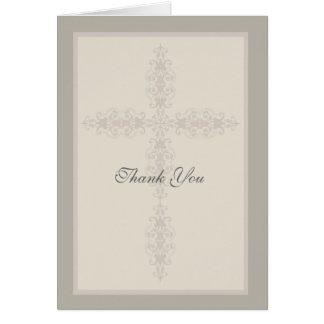 La filigrana cruzada religiosa le agradece cardar tarjeta pequeña