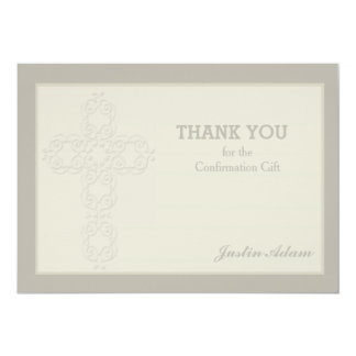 La filigrana cruzada religiosa le agradece invitación 12,7 x 17,8 cm