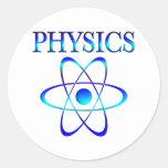 La física pegatina redonda