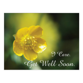 La flor amarilla consigue la postal bien