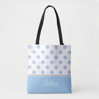 La flor azul de la acuarela florece el | bolsa de tela