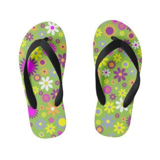 La flor colorida embroma flips-flopes chanclas para niños