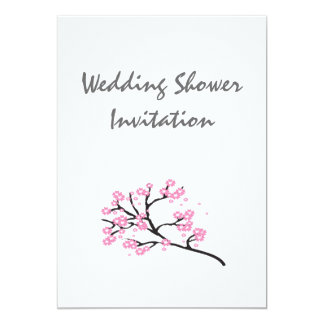 La flor de cerezo favorece las ideas, casando tema invitación 12,7 x 17,8 cm