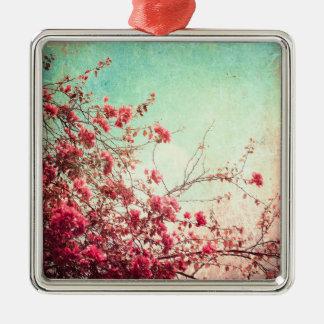 La flor de cerezo florece el ornamento azul rojo ornatos