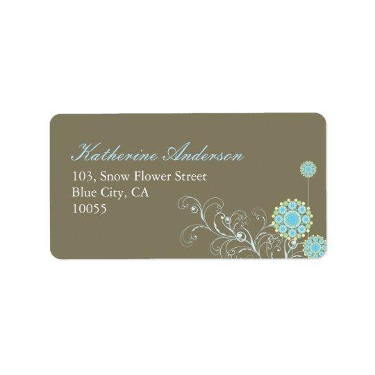 la flor de la nieve del fatfatin remolina etiqueta etiquetas de dirección