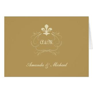 La flor de lis antigua del boda del oro le tarjeta de felicitación