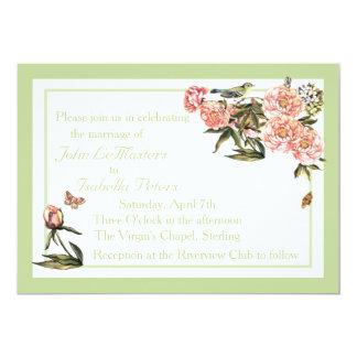 La flor elegante y la mariposa verdes y rosadas invitación 12,7 x 17,8 cm