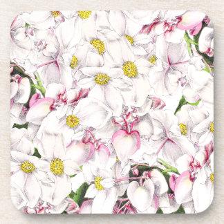 La flor floral blanca botánica florece práctico de posavasos