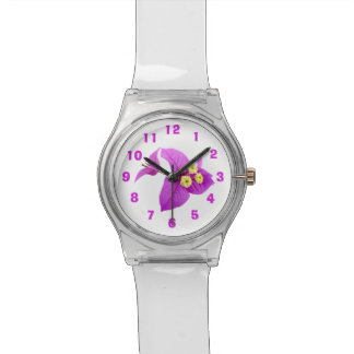 La flor púrpura del Bougainvillea corrige números Reloj De Pulsera