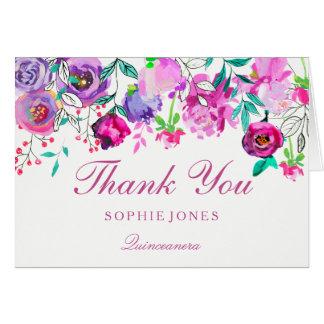La flor púrpura rosada Quinceanera le agradece Tarjeta De Felicitación