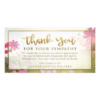 La flor salvaje rosada de oro le agradece tarjeta tarjetas fotograficas personalizadas