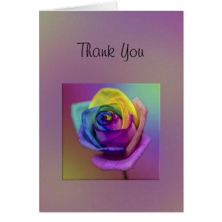 La flor subió arco iris le agradece tarjeta de felicitación