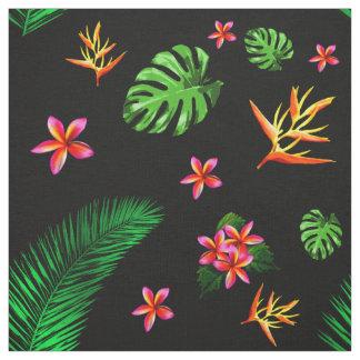 La flor tropical de moda de las mujeres sale de la tela