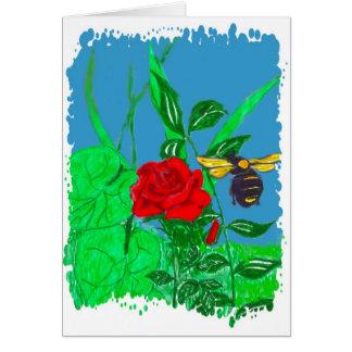 La flor y la abeja tarjeta de felicitación