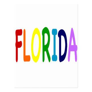 La FLORIDA en un arco iris de colores Postal