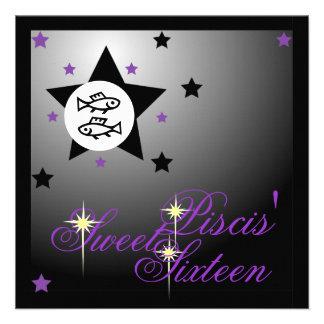 La fortuna zodiacal Sixteen-Cust dulce de Piscis Invitación Personalizada