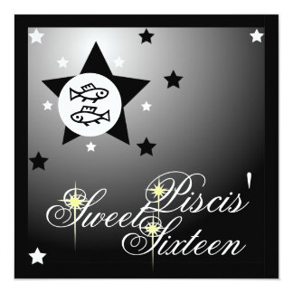 La fortuna zodiacal Sixteen-Cust. dulce de Piscis Invitación 13,3 Cm X 13,3cm