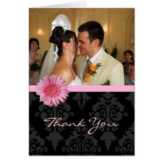 La foto de encargo elegante del boda le agradece tarjeta pequeña