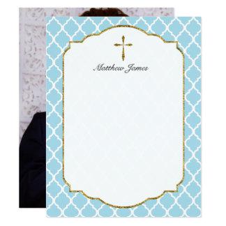 La foto de encargo le agradece, azul cruzado de invitación 10,8 x 13,9 cm