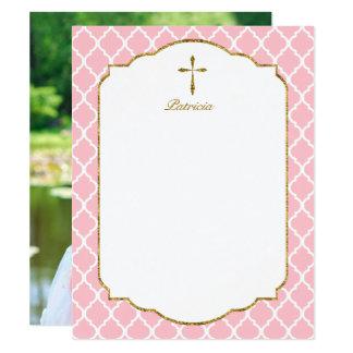 La foto de encargo le agradece, rosa cruzado de invitación 10,8 x 13,9 cm