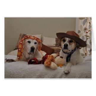 La foto de perros como nuevos padres envía a los tarjeta de felicitación