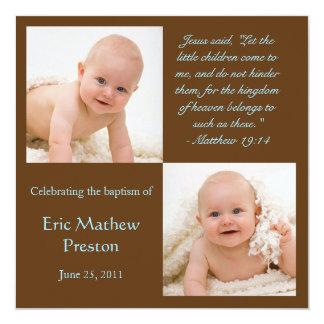 La foto del bautismo invita con verso de la biblia invitación 13,3 cm x 13,3cm